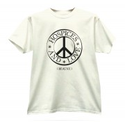 t shirt blanc crème détournement sigle peace and love